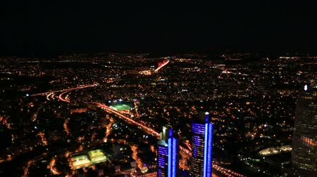 ночная жизнь : aerial view night city at Istanbul Turkey