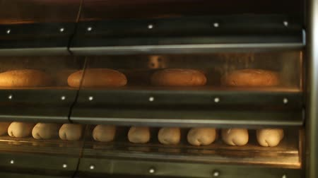 fırınlama : baking bread in the owen at bakery Stok Video