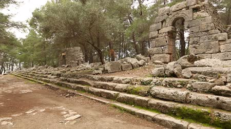 phaselis : 7th century BC Ancient Phaselis City at Turkey (agora) Stock Footage