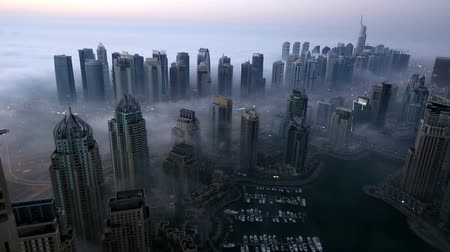 skyscraper : aerial view skyscraper foggy weather Dubai Marina  United Arab Emirates UAE at morning