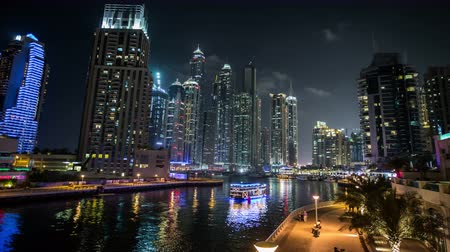 felhőkarcoló : Ultra HD, 4K, famous place River Walk And Dubai Marina with skyscraper United Arab Emirates UAE, time lapse photography, Photo Sequence shot in RAW