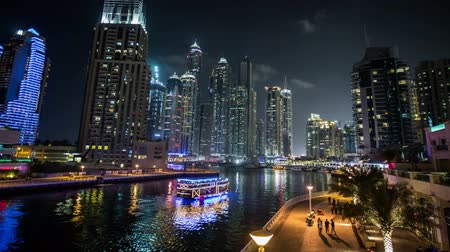 birleşik arap emirlikleri : time lapse photography, famous place River Walk And Dubai Marina with skyscraper United Arab Emirates UAE, Photo Sequence shot in RAW, pan-zoom in Stok Video