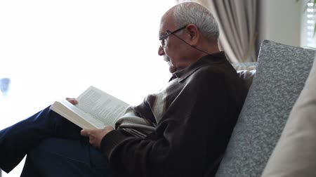 retirement : Senior Man Reading Book at Home Stock Footage