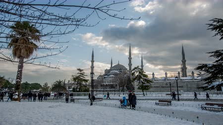 winter place : Ultra HD 4K, time lapse photography, clouds moving across the blue sky with Blue Mosque in winter season at Istanbul Turkey, Photo Sequence shot in RAW, dolly shot