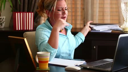 papelada : Tired Middle Age Blonde Business Woman Feels Neck Pain in Office Stock Footage