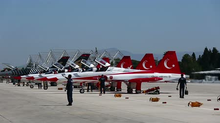 moscas : Turkish Star Air Show Team Landing Stock Footage