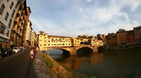 florencja : Sunset Ponte Vecchio Bridge on Arno River at Florence Tuscany Italy
