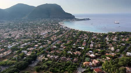 szicília : Tracking Shot Time Lapse  Aerial View Mondello Bay at Palermo Sicily