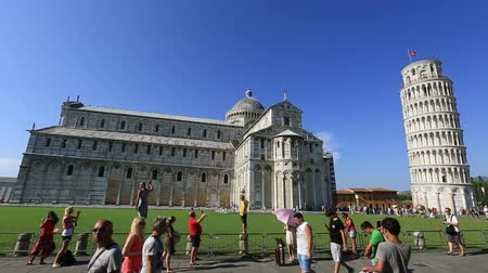toscana : Dolly Shot Tourist Visiting Famous Place Pisa Tower at Square of Miracles Torre di Pisa at Piazza dei Miracoli at Tuscany Italy