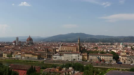 piazza del duomo : Pan Shot Aerial Skyline of Florence Tuscany Italy Stock Footage