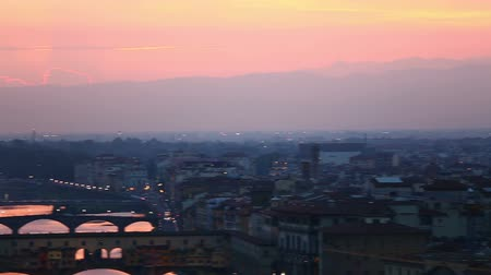 florencja : Pan Shot Aerial Skyline of Florence Tuscany Italy at Sunset Wideo