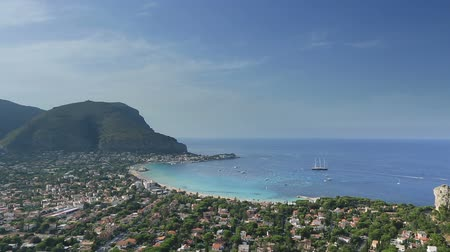 szicília : Time Lapse  Aerial View Mondello Bay at Palermo Sicily