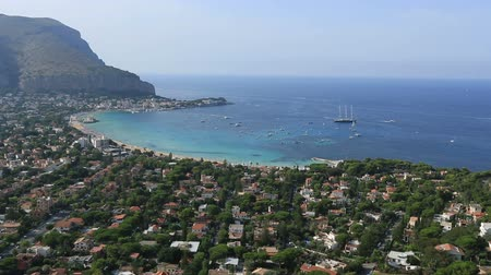 szicília : Dolly Shot Time Lapse  Aerial View Mondello Bay at Palermo Sicily