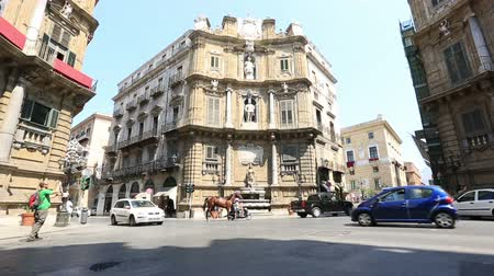 sycylia : Tracking Shot Time Lapse City Traffic on Four Corners Fountain, Piazza Vigliana at Palermo Sicily Italy