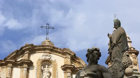 sycylia : Time Lapse Status of Piazza San Domenico with San Domenico Church  Chiesa di S. Domenico e Chiostro at Palermo Sicily Italy