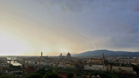 florencja : Slow Motion Lightning Aerial Skyline of Florence Wideo