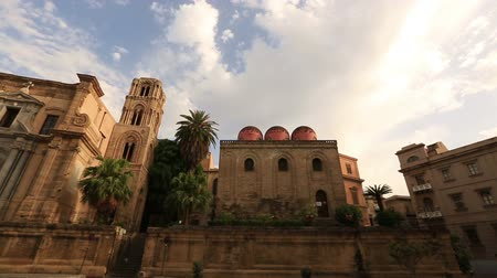sycylia : Pan Shot Piazza Bellini with Santa Maria dell Ammiraglio and S.Cataldo Church at Palermo Sicily Italy