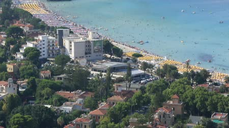 szicília : Tilt Shot Aerial View Mondello Beach at Palermo Sicily