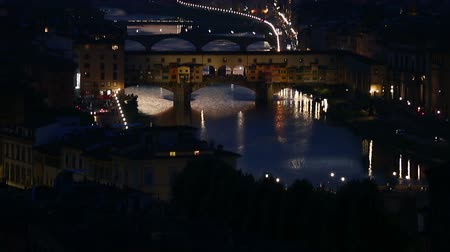 piazza del duomo : Tilt Shot Aerial Skyline Sunset Time Ponte Vecchio Bridge at Florence Tuscany Italy