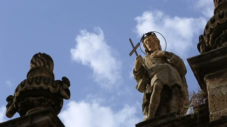 sycylia : Tracking Shot Time Lapse Close Up Status of Chiesa di S. Anna , Santa Anna Church at Palermo Sicily Italy Wideo