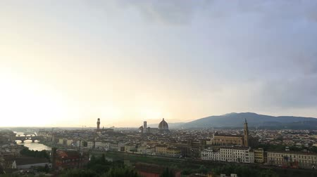 florencja : Time Lapse Aerial Skyline of Florence Tuscany Italy at Sunset Wideo
