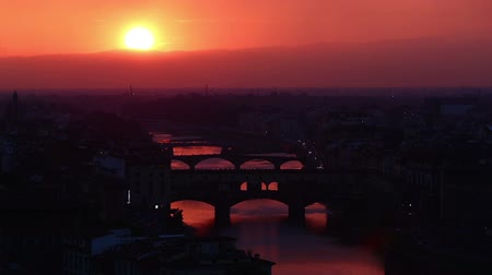 piazza del duomo : Tracking Shot Time Lapse Aerial Skyline of Arno River Florence Tuscany Italy at Sunset Stock Footage