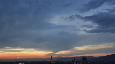 piazza del duomo : Tilt Shot Aerial Skyline Sunset  of Florence at Tuscany Italy