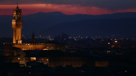 toscana : Pan Shot Aerial Skyline of Florence Tuscany Italy at Sunset Vídeos