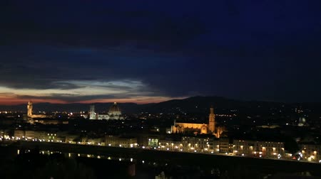 piazza del duomo : Pan Shot Aerial Skyline of Florence Tuscany Italy at Sunset Stock Footage