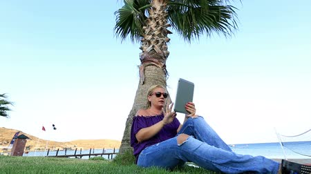 dividir : attractive blonde women using digital tablet at seashore Stock Footage