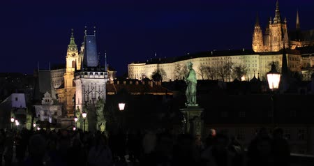 prague bridge : Tourist Visiting Charles Bridge Old Town Prague at Czech Republic in winter time Stock Footage