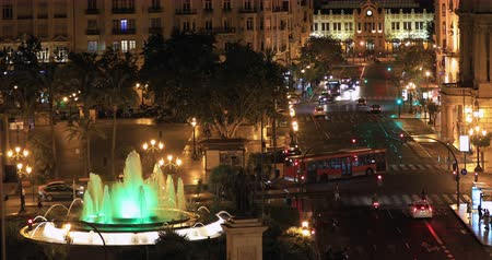 europe population : time lapse Aerial View City Center of Plaza del Ayuntamiento Valencia Spain Stock Footage