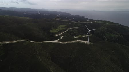 Green hills with Wind turbines Wideo