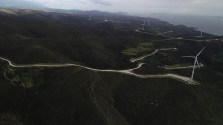 watt : Green hills with Wind turbines Stok Video