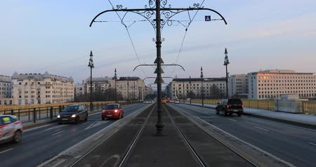 Budapest, Hungary, March 15 jan 2019 Old yellow tram and city traffic at winter. Time lapse Stock mozgókép