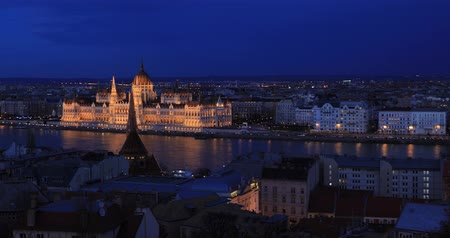 BUDAPEST, HUNGARY - JANUARY 17, 2019: Aerial view of Parliament buildings, Danube river in old city Budapest Stock mozgókép
