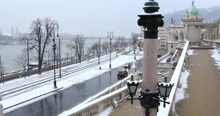 Budapest, Hungary, March 15 jan 2019 Old yellow Tram and chain bridge at winter Wideo