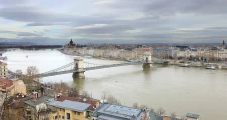 BUDAPEST, HUNGARY - JANUARY 17, 2019: Aerial view of buildings, Danube river and old city