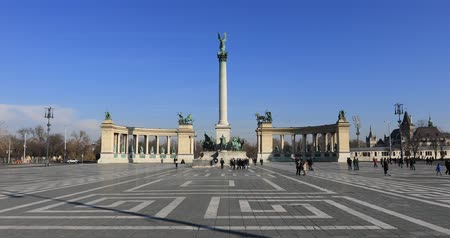 BUDAPEST, HUNGARY - JANUARY 17, 2019: A view of Heroes Square