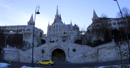BUDAPEST, HUNGARY - JANUARY 16, 2019: Fisherman bastion towers, winter time in Budapest Stock mozgókép