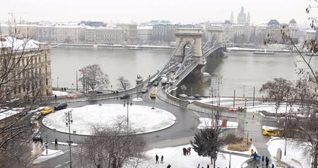 easterner : BUDAPEST, HUNGARY - JANUARY 17, 2019: A aerial view of Budapest city Stock Footage