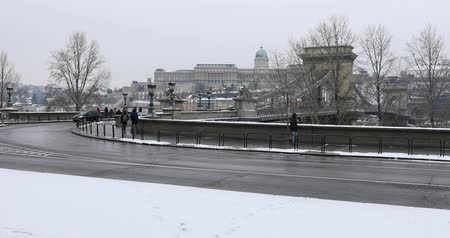 easterner : Chain Bridge in Budapest at winter