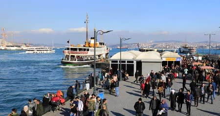 ferry terminal : A lot of people in Eminonu. Eminonu, Istanbul, Turkey. Time lapse