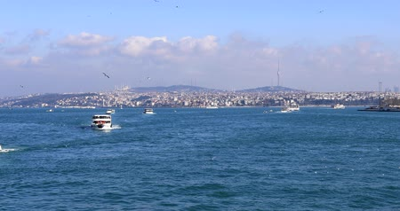 senhor : Passenger ships and boats cruising over Bosporus