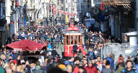 busy line : A view of crowded street at Istiklal Avenue