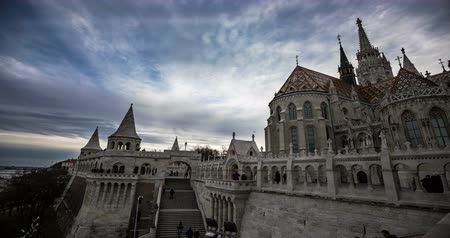 relics : Fisherman Bastion at Budapest Winter time. Time lapse.