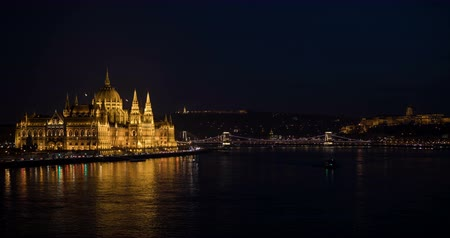 easterner : A view of the Hungarian Parliament building. Time lapse