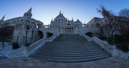 relics : Fisherman bastion towers at the winter time. Time lapse. Stock Footage