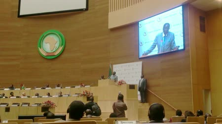Robert Mugabe delivers a keynote speech at the African Union Commission after being appointed the Chairperson of the African Union
