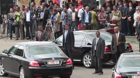 Addis Ababa - May 5: President of Ethiopia concludes and leaves the the 74th anniversary of Patriots Victory day commemorating the defeat of the invading Italians on May 5, 2015 in Addis Ababa, Ethiopia. Стоковые видеозаписи